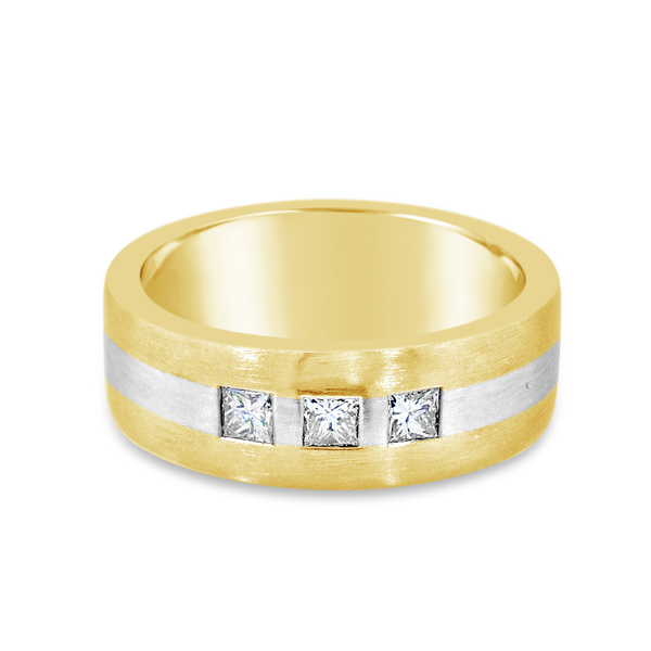 Gent's Two Tone 14Kt 7.5Mm Bd Wedding Band With 3=0.39T Princess Cut Gh Si12 Diamonds