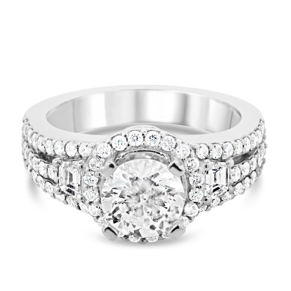 Lady's White 14 Karat Engagement Ring With 2=0.31Tw G Si1 Diamonds And 70=0.61Tw Round G Si1 Diamonds