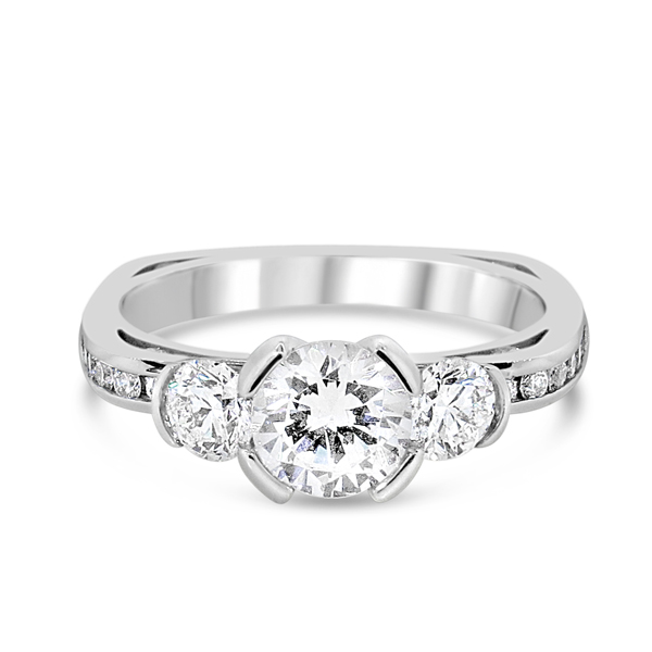 Lady's White 18 Karat Engagement Ring With 22=0.78Tw Round G Vssi Diamonds