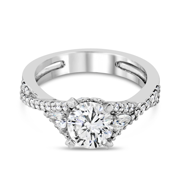 Lady's White 14 Karat Ring With 36=0.29Tw Round F/G Vs2-Si1 Diamonds And 2=0.17Tw Pear F/G Vs2-Si1 Diamonds