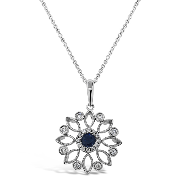 14K White Gold Length 18 With One 0.25Ct Round Sapphire And 0.19Tw Round H/I Si1-Si2 Diamonds
