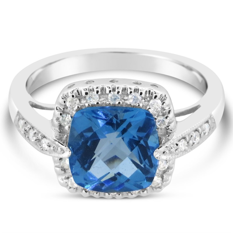 Lady's White 14 Karat Fashion Ring With One 8.00mm Cushion Blue Topaz And 0.15Tw Round G/H Si1-Si2 Diamonds