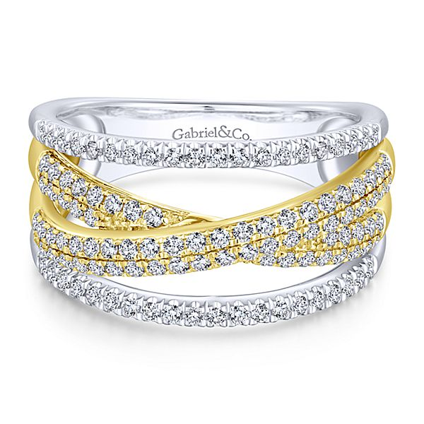 Lady's Two Tone 14 Karat Women's Diamond Fashion Ring With 0.62 Tw Round G/H Si1-Si2 Diamonds