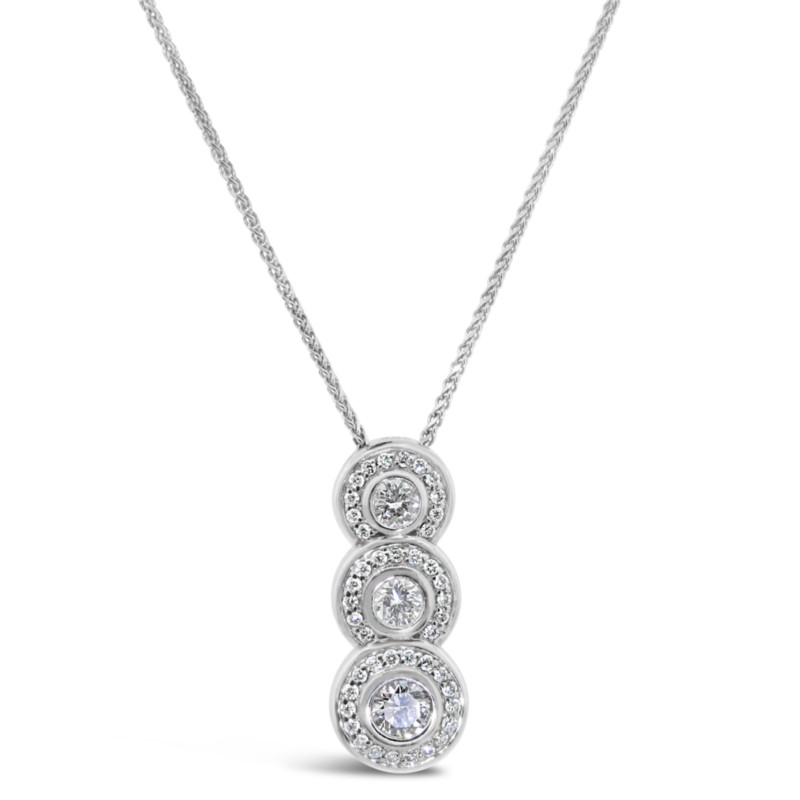 Lady's White 14 Karat Pendant Length 18 With 46=0.77Tw Round G Vs2 Diamonds