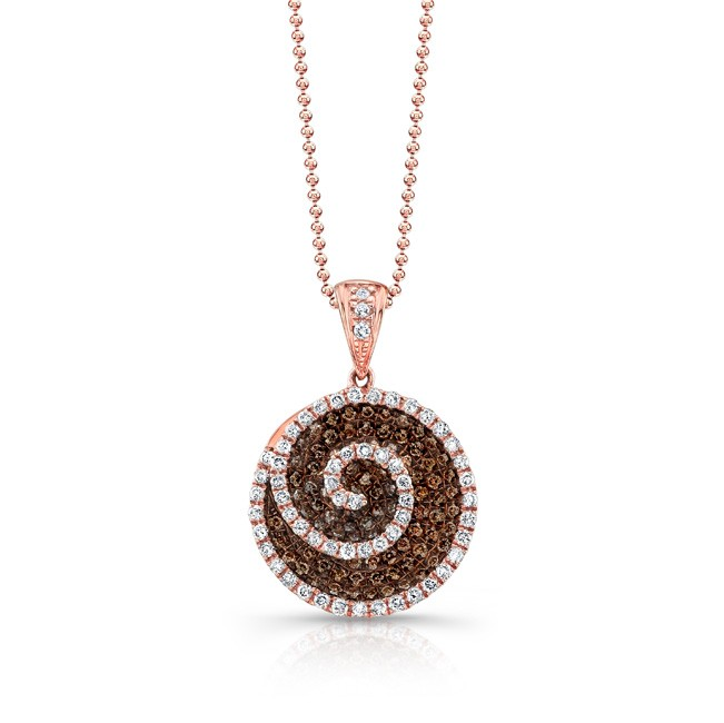 "Ros. 18K Length 18"" Pendant With 60=0.31Tw Round G/H Si2 Diamonds And 90=0.37Tw Round Diamonds"