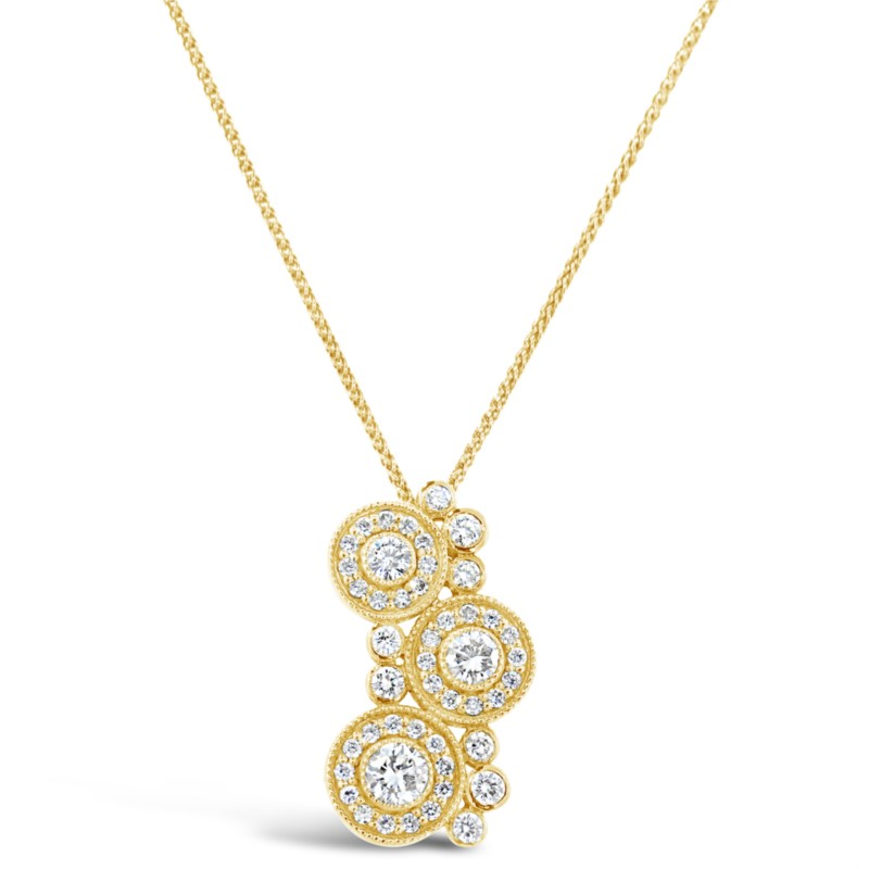 Lady's Yellow 18 Karat Pendant Length 18 With 48=0.83Tw Round G/H Si1-Si2 Diamonds