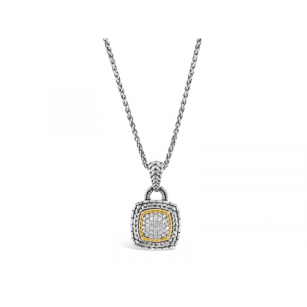 Lady's Two Tone Sterling Silver Pendant Length 18 With 0.25Tw Round G/H Si1-Si2 Diamonds