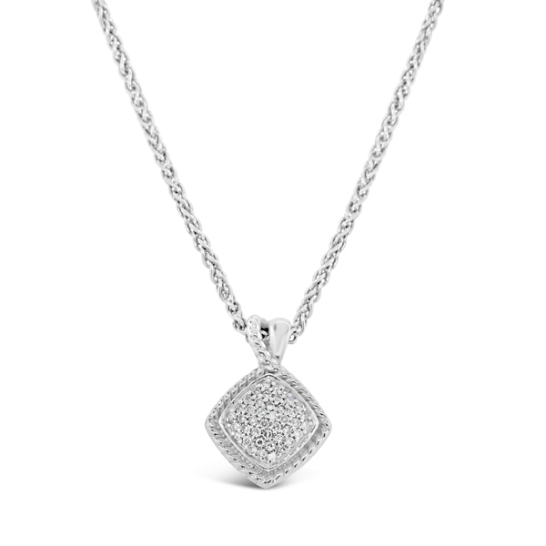 Lady's White Sterling Silver Pendant Length 18 With 0.20Tw Round G/H Si1-Si2 Diamonds