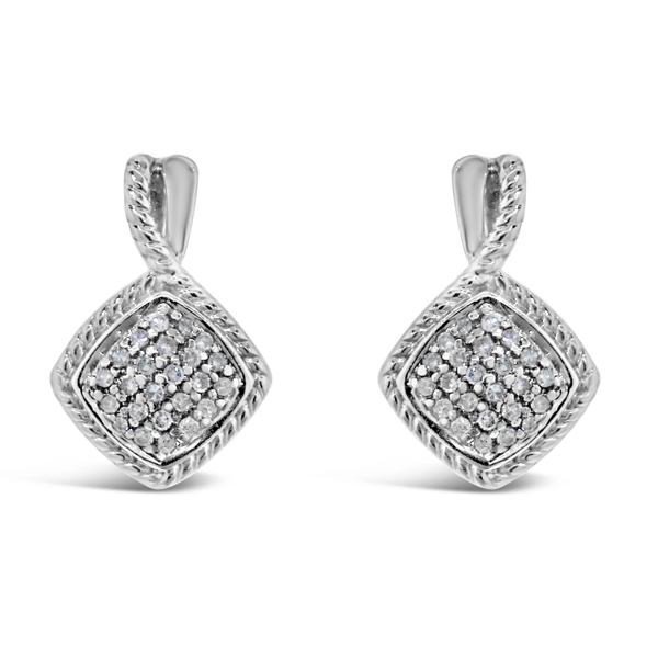 Lady's White Sterling Silver Earrings With 0.22Tw Round G/H Si2 Diamonds
